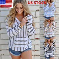 Womens Long Sleeve Hoodie Blouse Shirt Sweatshirt Striped Pullover Sweater Tops