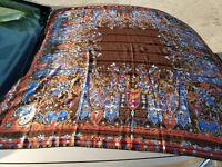 Christian Dior Vintage Stole Mousseline Silk Shawl Floral Scarf Wrap Pareo