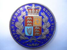 1845 VICTORIA HALF CROWN 5 COLOUR HAND ENAMELLLED COIN