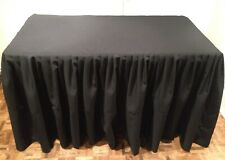 Black Tablecloth Skirt Cover, 4' Fitted,  Polyester