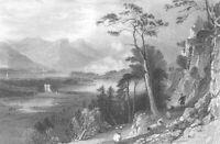 Scotland, Argyll LAKE LOCH CRERAN BARCALDINE CASTLE ~ 1837 Art Print Engraving