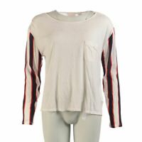 SASS BIDE Top Off White Navy Red Stripe Size Small MD 864