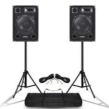 """Pair MAX SP12 12"""" Mobile DJ PA Full Range Speakers w/ Stands 1400 Watt UK Stock"""