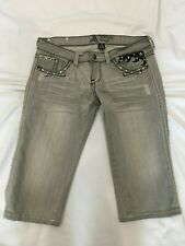 (*-*) BUCKLE * ANTIQUE RIVET * Womens Capri Gray Jeans / Denim * Size 28 / 6