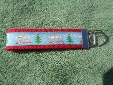 "Silver Camper Travel Trailer Christmas Tree & Snow 5"" Key Fob Wristlet Red"