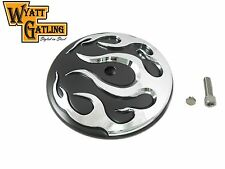 Black w/Chrome Flames Breather Cover Air Cleaner Trim 1999-later Harley Davidson