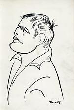 Marlo Brando, caricaturé par Kroll Vintage silver print,Marlon Brando, Jr., né