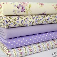Bundle 5 fat quarters lilac & ivory florals  100% cotton fabric/material