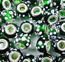 10PCS Beautiful green white lampwork glass big hole bead Vk2717(1)