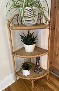 Vintage Retro Boho Bamboo Cane Rattan Tiki Triple Shelves Corner Unit Stand