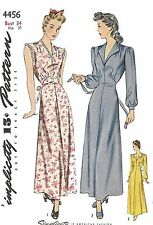 """VINTAGE anni 1950 Sewing Pattern WOMEN'S elegante camicia da notte Abito busto 34"""" SECONDA GUERRA MONDIALE ww2"""