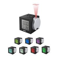 Alarm Clock LED Wall/Ceiling Projection LCD Digital Temperature Snooze Calendar