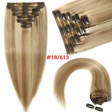 Thick Double Weft Clip In Real Remy Human Hair Extensions Full Head Blonde US011