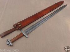 "38"" DAMASCUS WRAP LEATHER HANDLE HANDMADE VIKING SWORD"