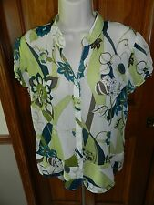 Green Teal Floral Print Sheer Button Down Blouse by Worthington sz 16
