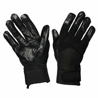MENS BLACK FITTED LEATHER GLOVE AIR MESH DRIVING SMART