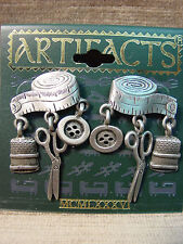 """JJ"" Jonette Jewelry Silver Pewter SEW * SEAMSTESS with Charms Earrings"