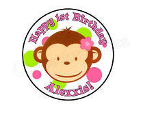 Pink Girl Mod Monkey edible round cake image topper decoration