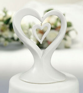 Double Heart Hanging Heart Romantic Porcelain Wedding Cake Topper