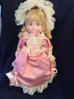 """Vintage 19"""" Collectible Porcelain Girl Doll With Curls Gorgeous Pink Dress & Hat"""