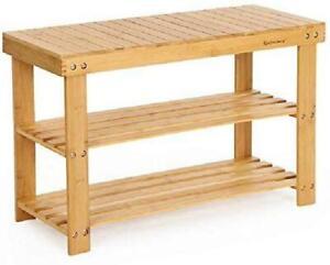 3 Tier Bamboo Shoe rack bench Organizer Storage Shelf Entryway Corridor home new