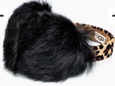 UGG 16163DL17 Leopard Sheepskin Black Wired Earmuff Headset Womens NWT