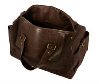 Tommy Bahama Antigua Cove Dark Brown Canvas Leather Duffle Bag 3096