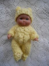 """Doll Clothes Yellow Hand Knitted Sleeper footed set for sculpted Baby 5"""" Ooak 6"""""""