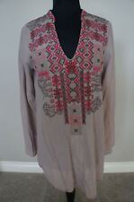 NEW Johnny Was Biya Cotton Voille Embroidered Bohemian Tunic Top Blouse S