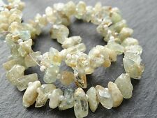 "ROUGH AQUAMARINE NUGGETS, approx 5x8 - 8x10mm, 14"" strand with spacers, 90 beads"