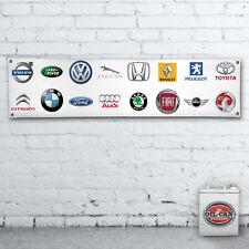 CAR LOGOS PVC BANNER no 2 workshop / garage / showroom / mancave 1700x430mm