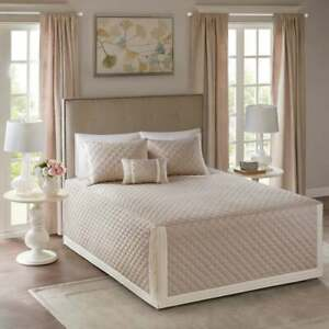 BEAUTIFUL ELEGANT XXL LARGE TAUPE CLASSIC LEAF FITTED SOFT BEDSPREAD QUILT SET
