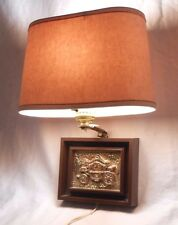 Vintage Wall Lamp Retro Mid Century Light w/Shade Pickwick Label Kitsch Plastic