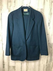 Pendleton Women's 2pc Skirt Suit Green/Teal 100% Virgin Wool Lined Size L 12