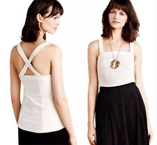 Anthropologie Classic Halter Top Medium 6 8 Ivory Tank Textured Blouse Shirt NWT