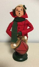 Byers Choice Caroler 1987 Drummer Boy with Drum Red Coat Green Scarf