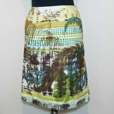 VanHeusen Skirt 2 Yellow Brown Tropical Abstract Cotton A-Line Above Knee Career