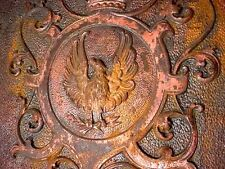 ORNATE VINTAGE CAST IRON EAGLE FIRE PLACE COVER FROM A 100 YR OLD NEW ALBANY MA