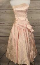 a896af4e 80s Prom Zum Zum Dress Sz 5 Pink Satin Formal Party Bow Floral Strapless A27