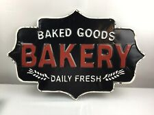 Baked Goods Wall Sign Distressed Black Red White Bakery Dairy Fresh Retro Metal
