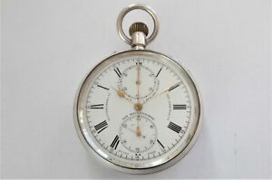 1900 SILVER CASED SMITH & SON CHRONOGRAPH CENTER SECOND POCKET WATCH WORKING