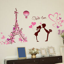 Paris Love Vinyl Art Quotes Removable Wall Stickers Home Mural Decal Decor