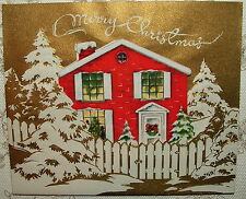UNUSED - Dbl. Card - Die-cut House, People, Tree - 50's Vintage Christmas Card