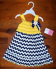 New! Girls SOPHIE ROSE Blue White Yellow Stripe Sundress Smock Dress 12 Months