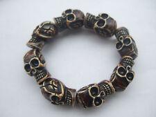 Fashion Men's Brown Resin Punk Skull Heads Elastic Wristband Bracelet Bangle