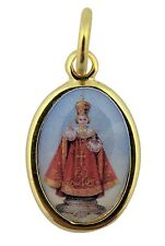 Gold Toned Base with Epoxy Image Catholic Infant of Prague Medal Pendant, 1 Inch