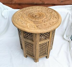 """Carved wooden Indian ethnic folding coffee table side table plant stand 18"""""""