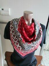 New Silk Scarf Vera Abstract Native American Indian Motif Paisley Red Japan
