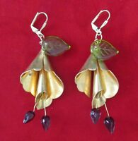 Pair of Vintage Brass & Glass Flower Earrings