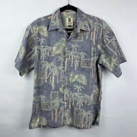 Tori Richard Reverse Print Bamboo Leaves Hawaiian Camp Button Down Shirt Sz M